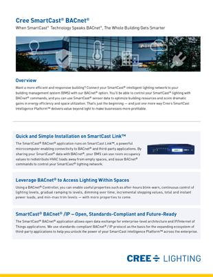 SmartCast® BACnet® Sales Sheet