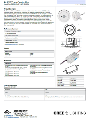 SmartCast® 0-10V Zone Controller Spec Sheet