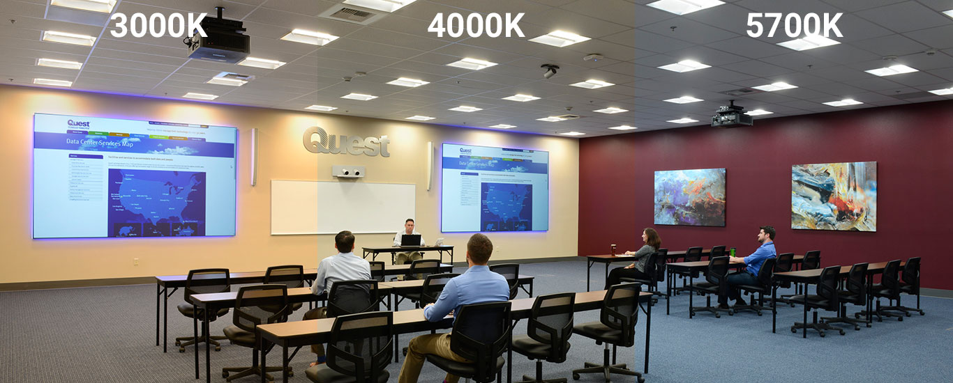 Quest CR Troffers with SmartCast in Training Room Showing Different Colour Temperatures (30K, 40K, 57K)